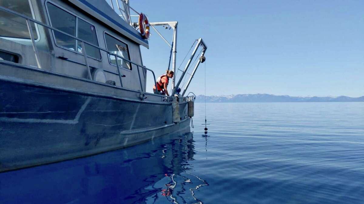UC Davis researchers take water clarity readings on Lake Tahoe in 2020.