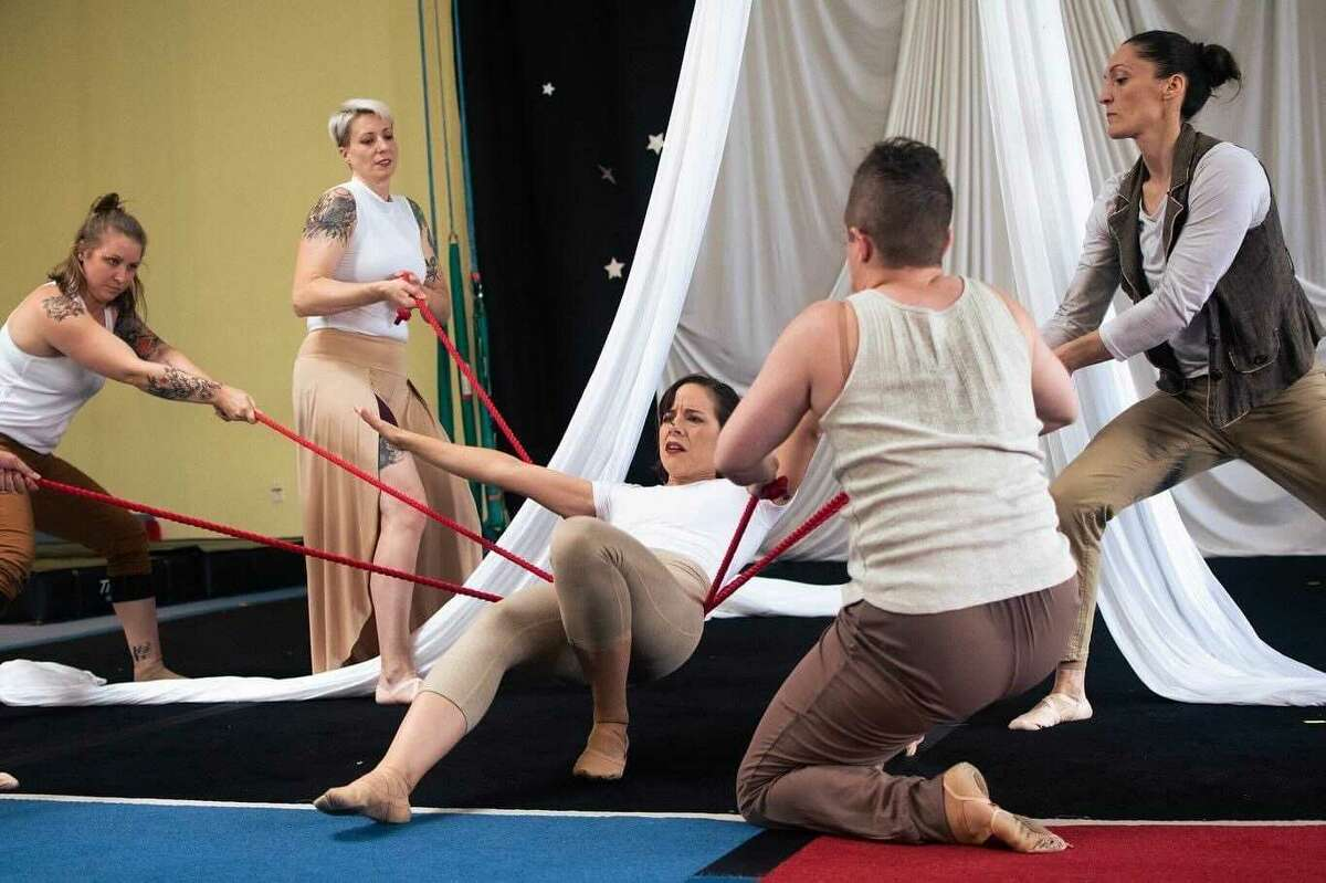 """Performers at Air Temple Arts in Woodbridge, Conn. rehearse scenes from original show, """"Heaven or California,"""" directed by Liz Richards. The show will debut on Saturday, July 10, 2021 at 11 Research Drive in Woodbridge."""