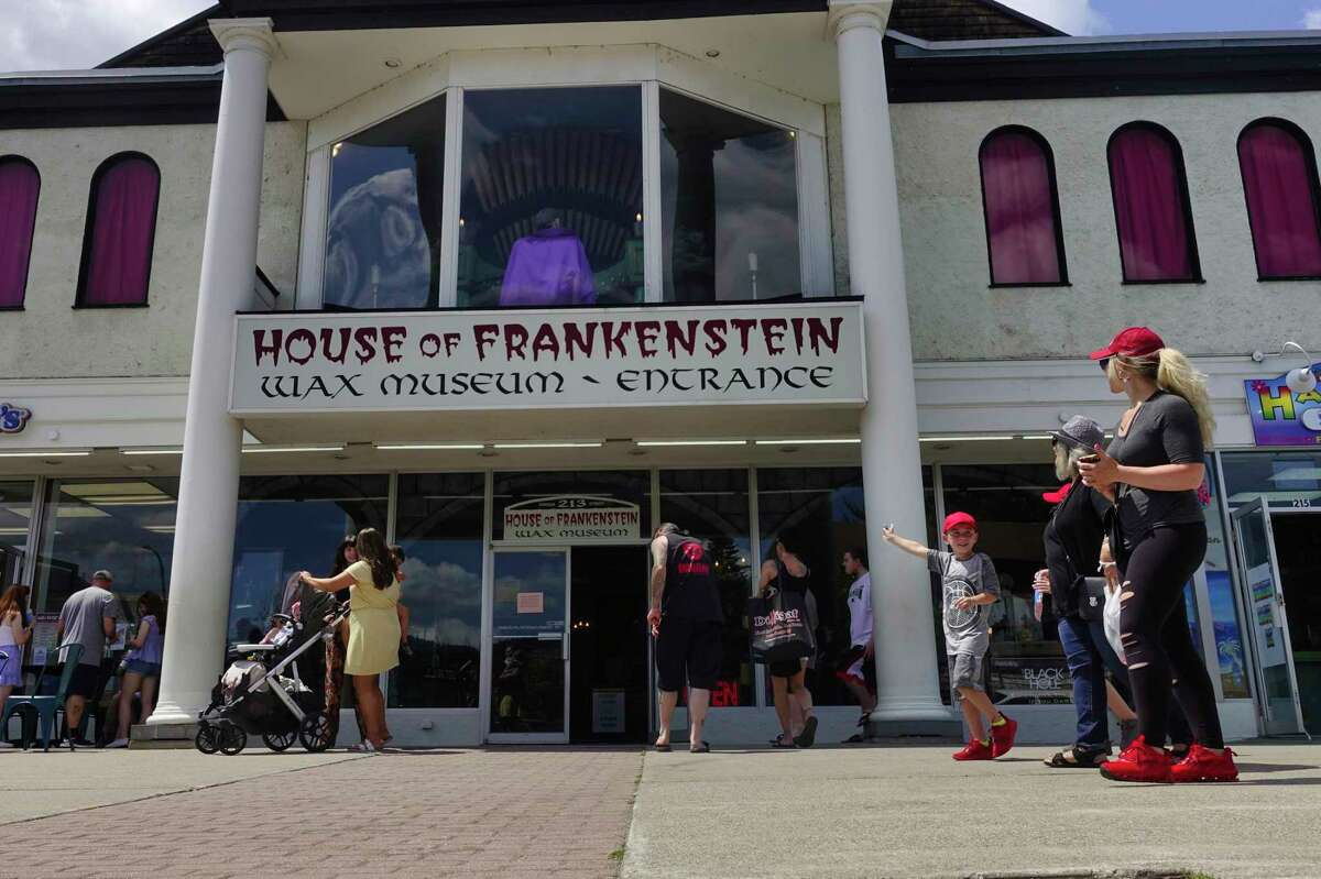 A view of House of Frankenstein Wax Museum on Canada Street on Monday, July 5, 2021, in Lake George, N.Y. The museum has been unable to find someone to hire who would wear a Frankenstein costume and stand outside the business to help attract customers. (Paul Buckowski/Times Union)