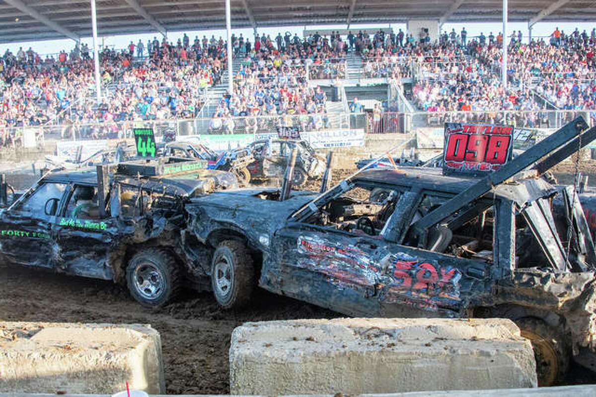 Two opponents collide in the 2019 Jersey County Fair's demolition derby. After a COVID-19 cancellation last year, the fair returns July 11-18.