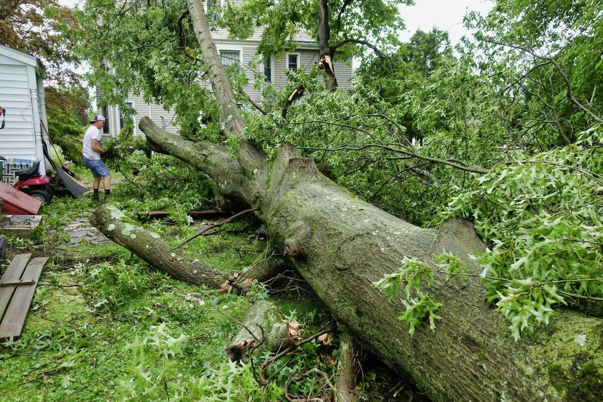 Michael Oathout cleans up smaller branches from a very large tree that crashed down in the backyard of the home he rents along Mansion St., on Thursday, July 8, 2021, in Coxsackie, N.Y. (Paul Buckowski/Times Union)
