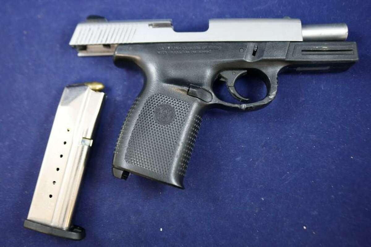 Among the items seized during an arrest in Waterbury, Conn., on Wednesday, July 7, 2021, was this loaded Smith & Wesson 9mm semi-automatic pistol, police said.