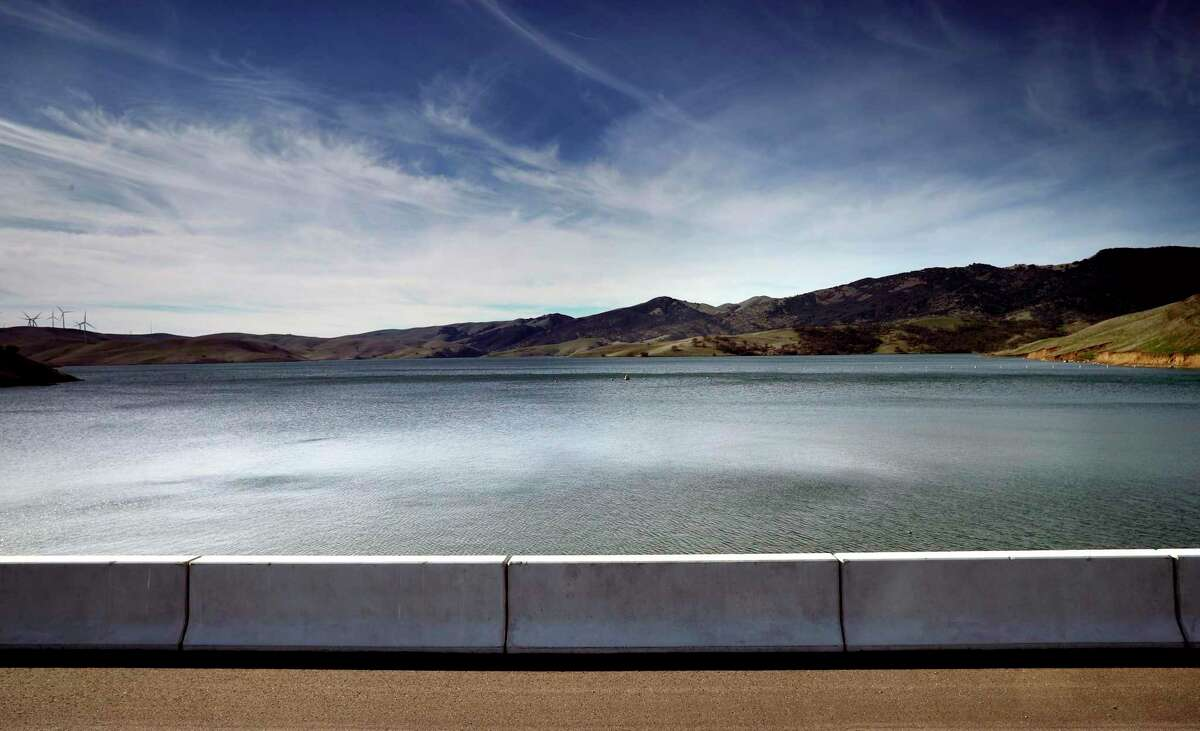 The Los Vaqueros Reservoir in Brentwood, Calif. The Contra Costa Water District's Board of Directors on Wednesday voted unanimously to declare a Stage 1 water shortage level, which includes calling for 10% voluntary conservation by its customers.