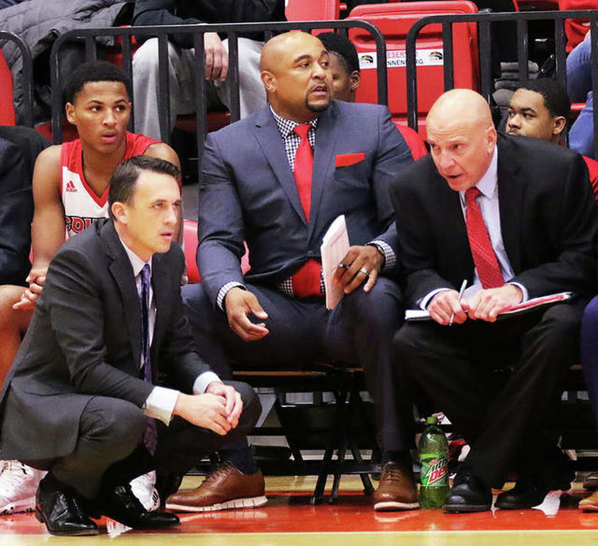 SIUE assistant coach Mike Waldo (right) talks with head coach Brian Barone (left) during a November 2019 game in Edwardsville. Waldo has been elevated to special assistant to the head coach for the Cougars.