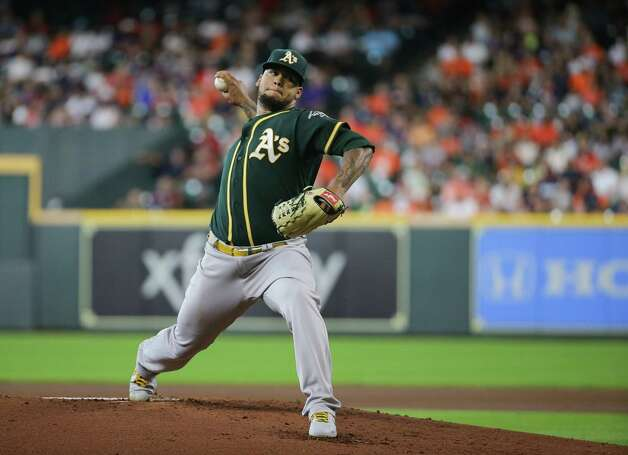 Oakland Athletics starting pitcher Frankie Montas (47) throws the ball against the Houston Astros during the first inning of an MLB game at Minute Maid Park on Thursday, July 8, 2021, in Houston. Photo: Godofredo A. Vásquez, Staff Photographer / © 2021 Houston Chronicle