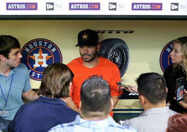 Houston Astros second baseman Jose Altuve (27) talks to reporters inside the dugout before an MLB game against the Oakland Athletics at Minute Maid Park on Thursday, July 8, 2021, in Houston. Photo: Godofredo A. Vásquez, Staff Photographer / © 2021 Houston Chronicle