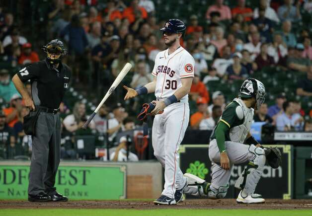 Houston Astros right fielder Kyle Tucker (30) heads to first base after earning a walk against the Oakland Athletics during the second inning of an MLB game at Minute Maid Park on Thursday, July 8, 2021, in Houston. Photo: Godofredo A. Vásquez, Staff Photographer / © 2021 Houston Chronicle