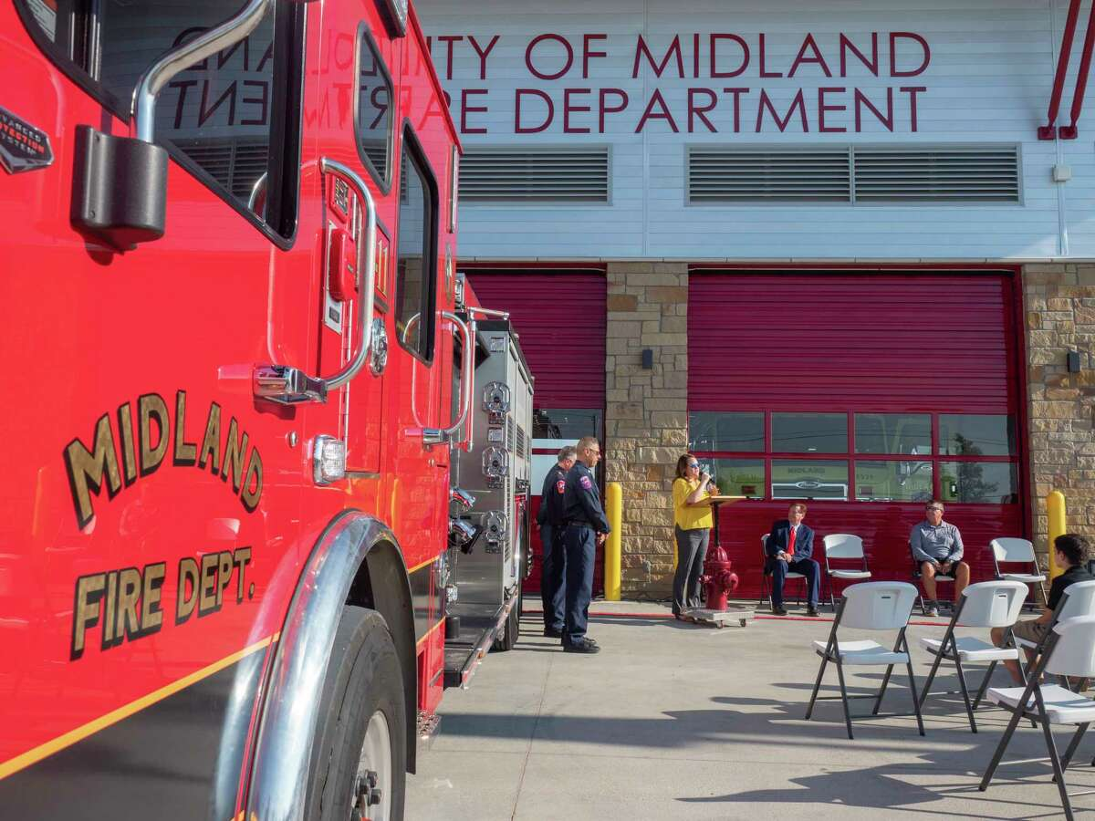 Midland City Councilwoman Lori Blong welcomes everyone to the newly open Station 11 07/08/2021 off Briarwood Ave., across from Coyote Trail. Tim Fischer/Reporter-Telegram