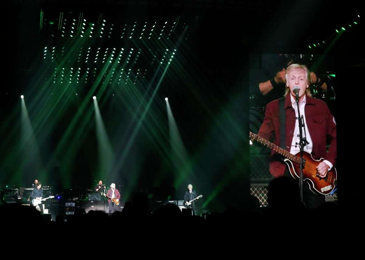 Paul McCartney performs at SAP Center in San Jose in 2019. A woman filed a lawsuit against the city of San Jose Wednesday after saying a police allegedly used excessive force during a confrontation over her attempt to get a refund for her ticket at that concert.