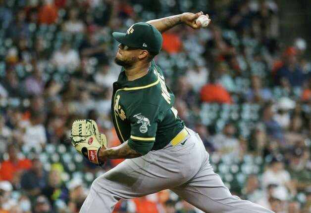 Oakland Athletics starting pitcher Frankie Montas (47) throws the ball against the Houston Astros during the fifth inning of an MLB game at Minute Maid Park on Thursday, July 8, 2021, in Houston. Photo: Godofredo A. Vásquez, Staff Photographer / © 2021 Houston Chronicle