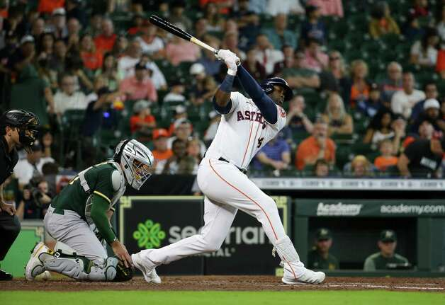 Houston Astros left fielder Yordan Alvarez (44) strikes out Oakland Athletics starting pitcher Frankie Montas (47) during the fourth inning of an MLB game at Minute Maid Park on Thursday, July 8, 2021, in Houston. Photo: Godofredo A. Vásquez, Staff Photographer / © 2021 Houston Chronicle