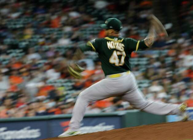 Oakland Athletics starting pitcher Frankie Montas (47) throws the ball against the Houston Astros during the fifth inning of an MLB game at Minute Maid Park on Thursday, July 8, 2021, in Houston. Montas had 10 strikeouts through five innings. Photo: Godofredo A. Vásquez, Staff Photographer / © 2021 Houston Chronicle
