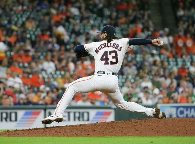 Houston Astros starting pitcher Lance McCullers Jr. (43) throws the ball against the Oakland Athletics during the seventh inning of an MLB game at Minute Maid Park on Thursday, July 8, 2021, in Houston. Photo: Godofredo A. Vásquez, Staff Photographer / © 2021 Houston Chronicle