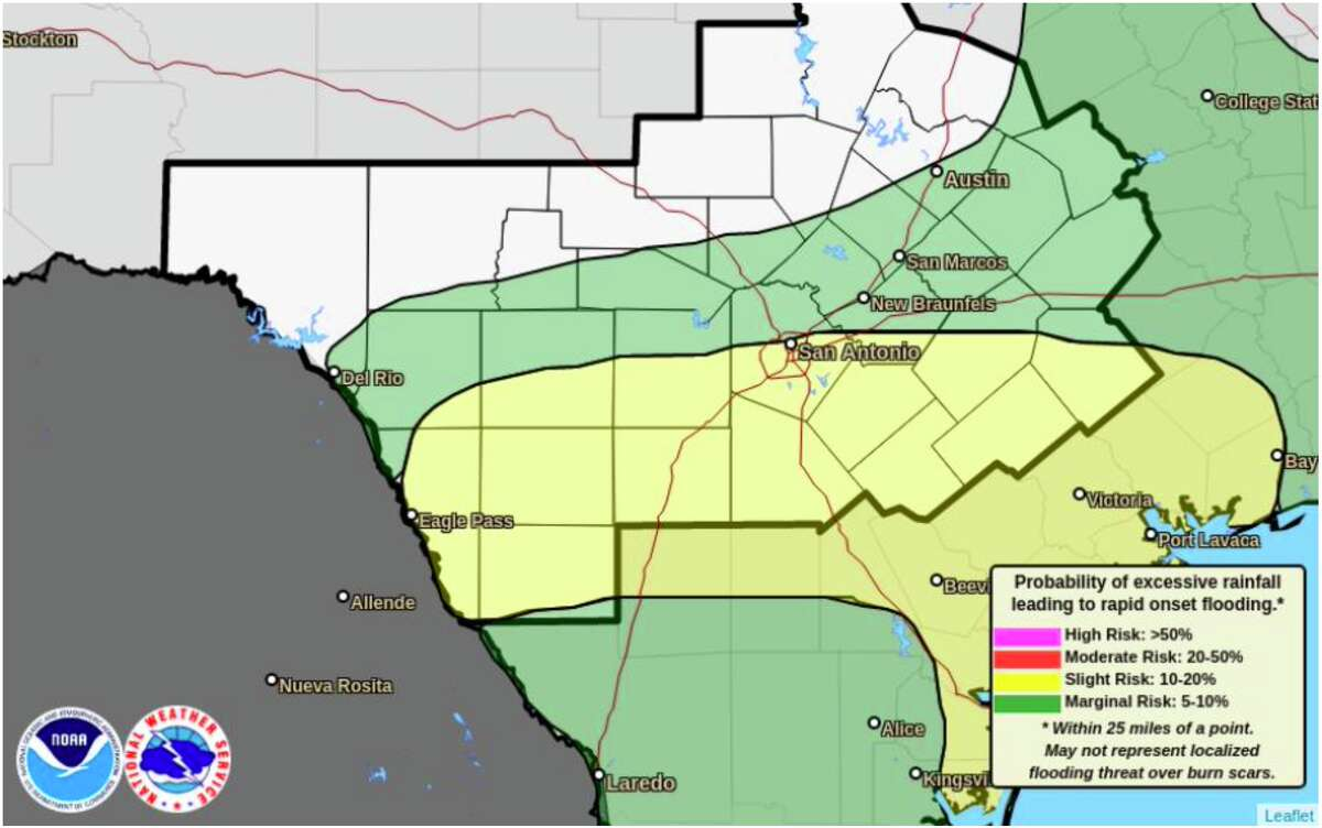 The National Weather Service has issued a flash flood watch for Bexar County until 7 p.m. Friday.