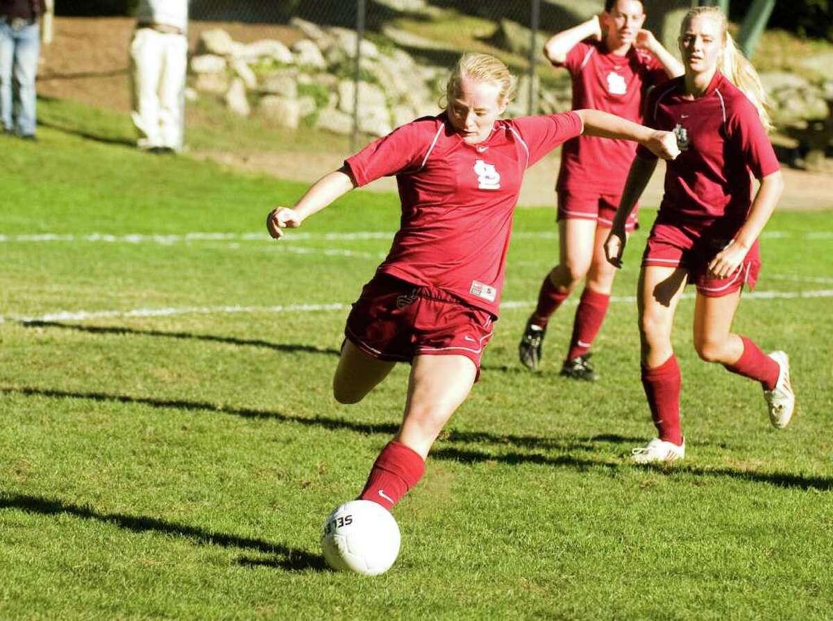 St. Luke's Molly Pivirotta in action as St. Luke's hosts Greenwich Academy in a girls soccer game Tuesday, September 14, 2010.