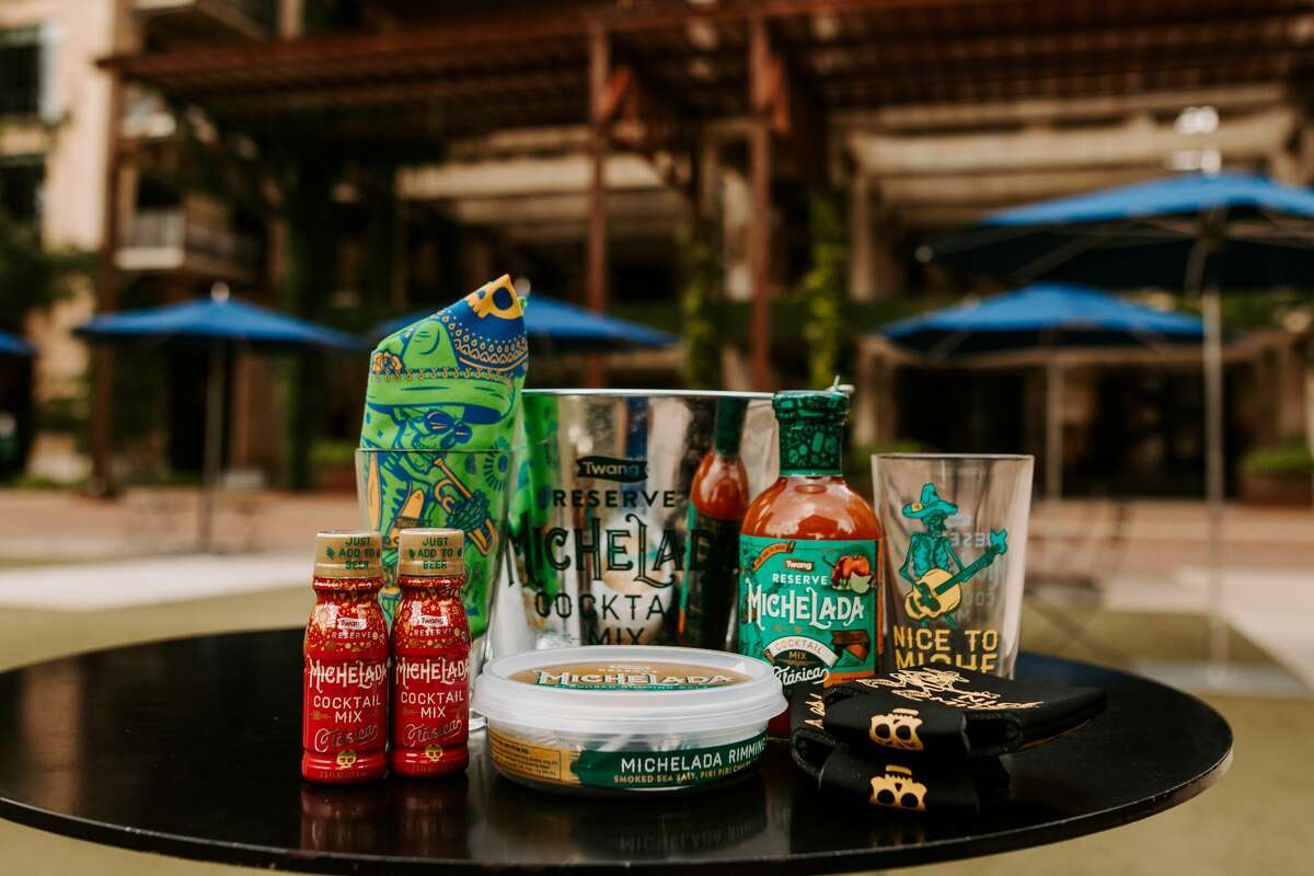 The bucket includes two michelada pint glasses, two 2.5-ounce bottles of Classica Michelada Cocktail mixes, two michelada koozies, a michelada bandana, Twang Reserve Michelada Rimming Salt and a 16-ounce bottle of Twang's Michelada Mix