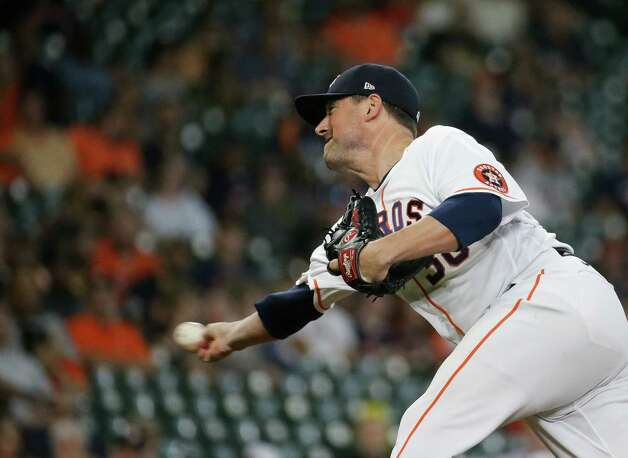 Houston Astros relief pitcher Joe Smith (38) throws the ball against the Oakland Athletics during the 9th inning of an MLB game at Minute Maid Park on Thursday, July 8, 2021, in Houston. Photo: Godofredo A. Vásquez, Staff Photographer / © 2021 Houston Chronicle