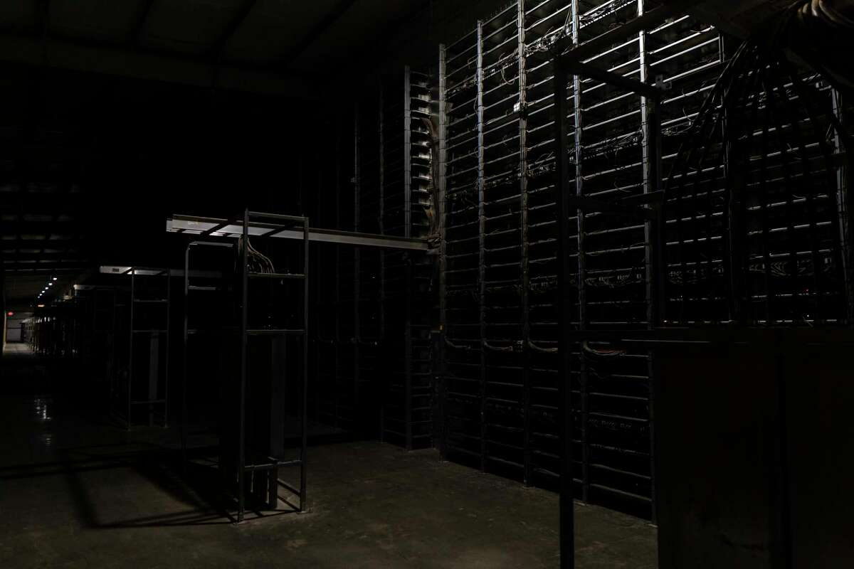 Racks of computers at Whinstone's cryptocurrency mining facility in Rockdale, Texas, on June 23.