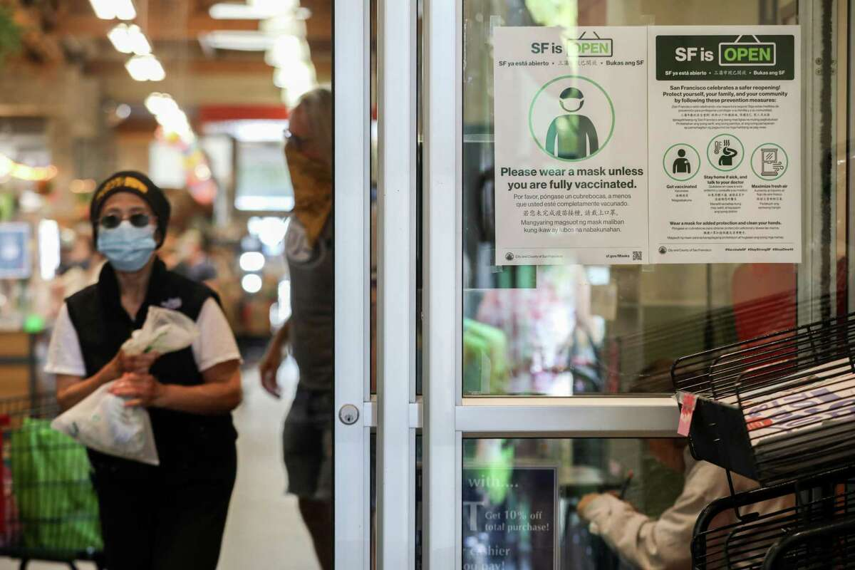 Rainbow Grocery now allows customers to enter mask free if they are fully vaccinated in San Francisco, Calif. on Thursday, June 17, 2021.