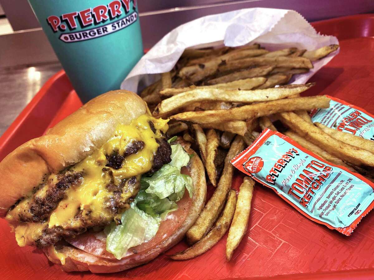 A combo with a double cheeseburger, handcut fries and a drink is a popular option at P. Terry's Burger Stand, the Austin chain that has opened its first San Antonio location, parking its ultramodern flying wedge with a double drive-thru on Wurzbach Road in the Medical Center area.