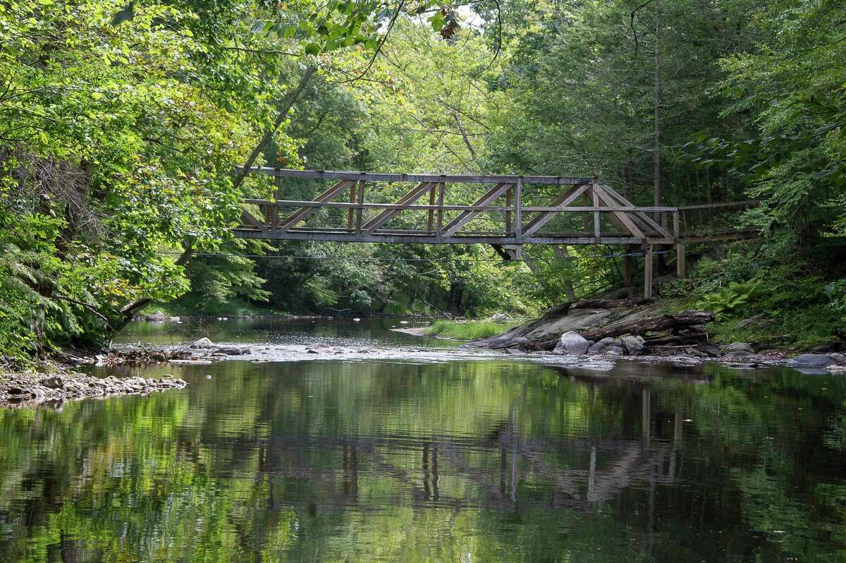 After 30 years of use, Volunteers Bridge that connects the Roxbury Land Trust's Orzech and River Road Preserves has now been closed for safety purposes.