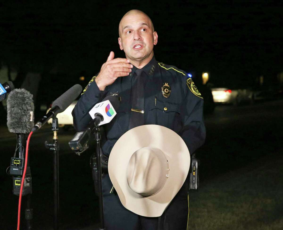 Sheriff Javier Salazar answers questions after having to run out from his Election Night party to tend to an officer-involved shooting on the far west side on Nov. 3, 2020.