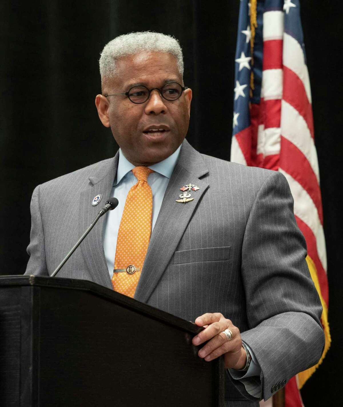 Allen West, Chairman of the Texas Republican Party, speaks at a luncheon of Republican National Hispanic Assembly members Feb. 11, 2021, at the Bush Convention Center.