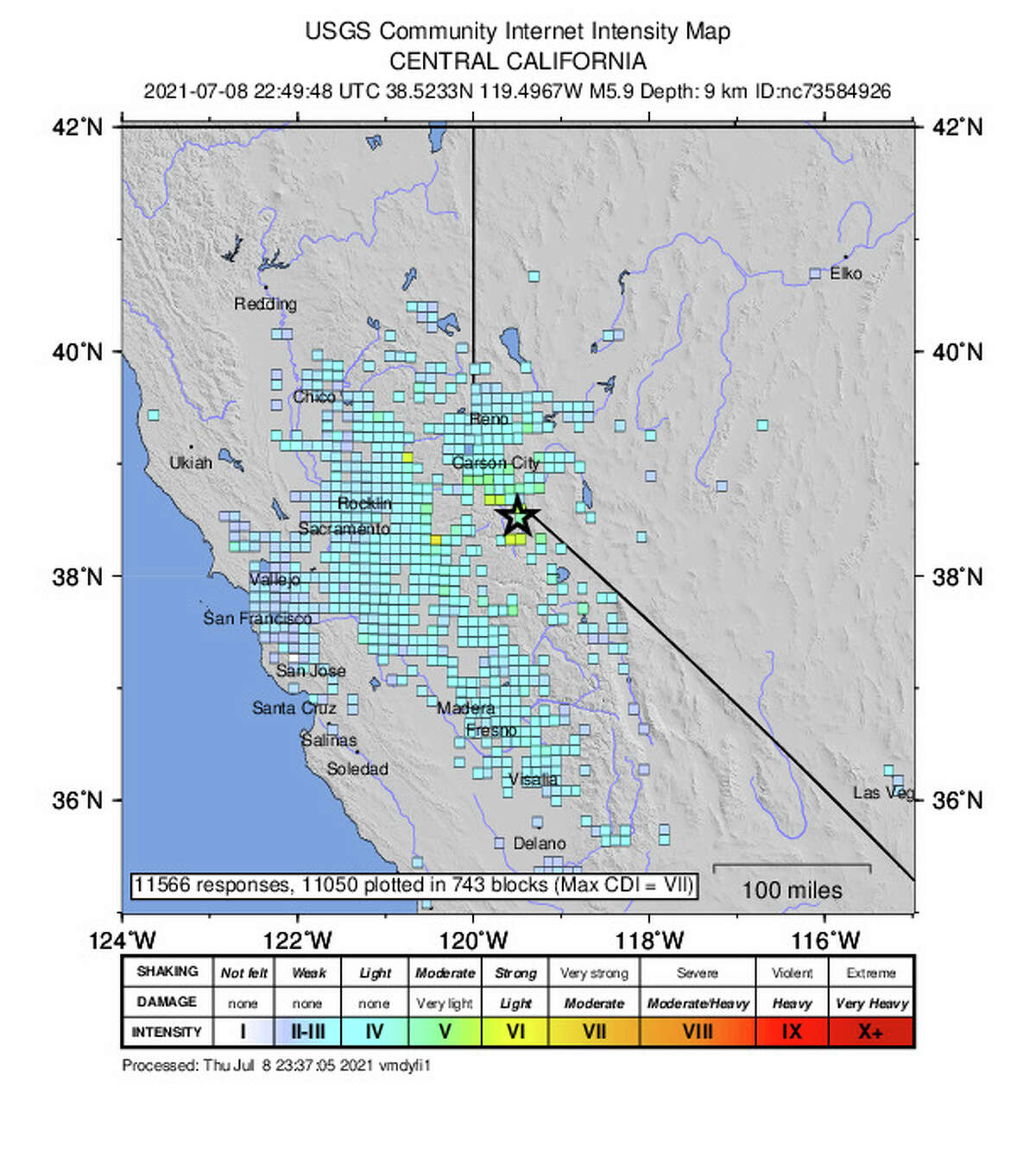A series of 13 earthquakes struck near the California-Nevada border around 4:00 p.m. Thursday.