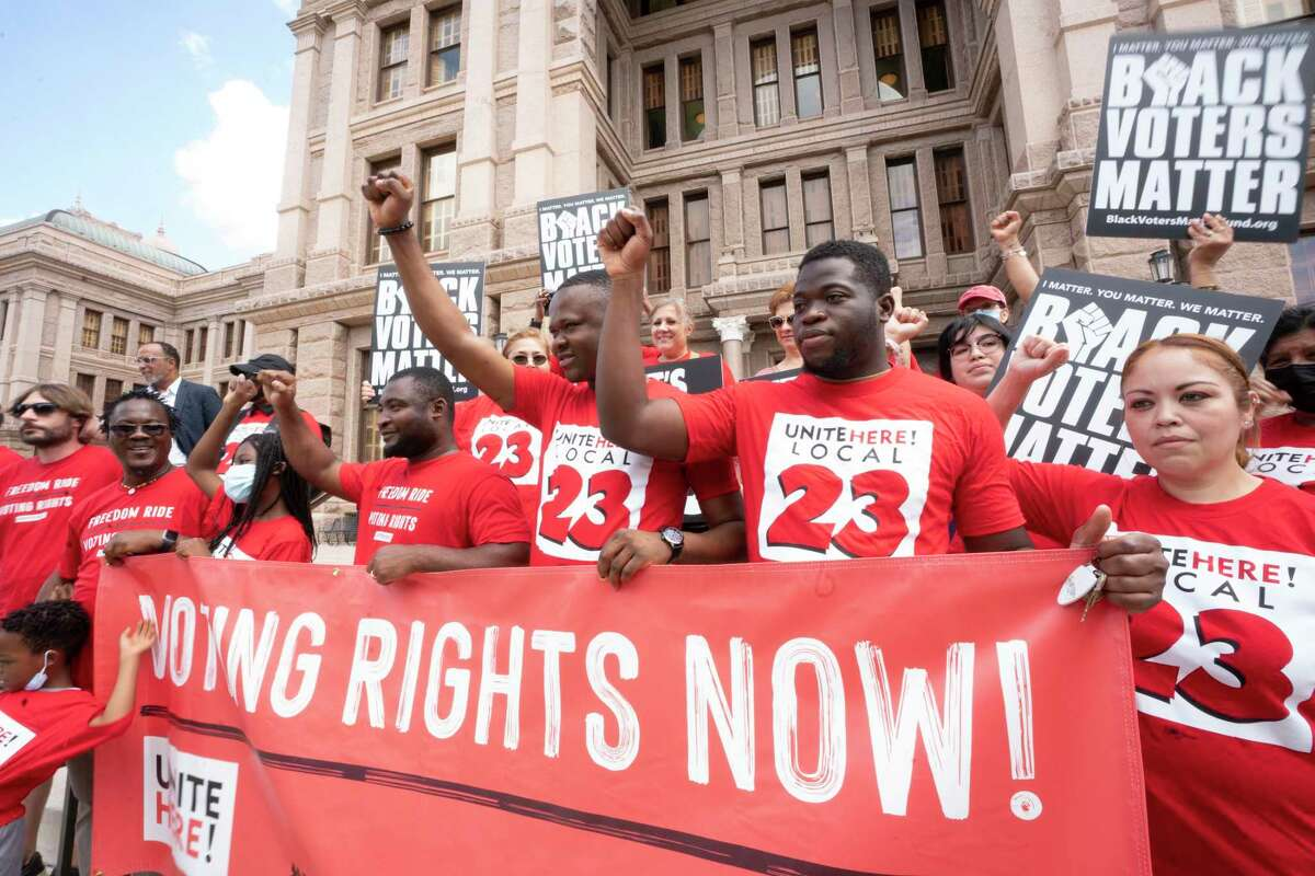 A coalition of voting rights groups including Black Voters Matter and the Texas Right to Vote Coalition rally at the Capitol to decry voter supression bills being advocated by Gov. Greg Abbott.