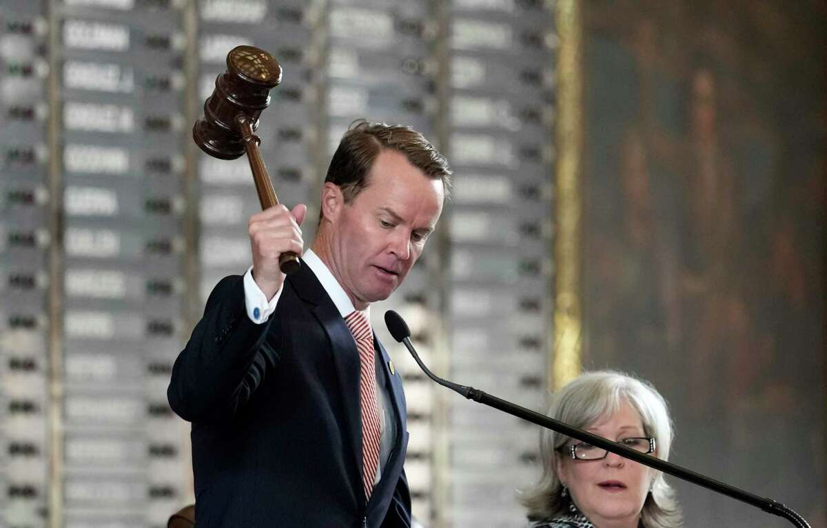 Texas Speaker of the House Dade Phelan, R-Beaumont, strikes his gavel as he opens the special session called by Gov. Greg Abbott, Thursday, July 8, 2021, in Austin, Texas. (AP Photo/Eric Gay)