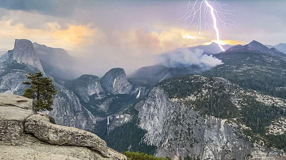 A lightning strike sparks fires in Yosemite National Park on June 30, 2021. The lightning ignited 18 fires, including the King Fire. Photographer Jess Lane (Instagram: @wilderjess_views, email: wilderjessphotos@gmail.com) captured the moment.