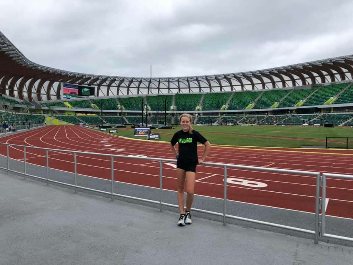 Mylie Kelly poses for a photo while competing at the National Scholastic Athletics Foundation Outdoor Nationals at the famous Hayward Field in Eugene, Ore. on June 30.