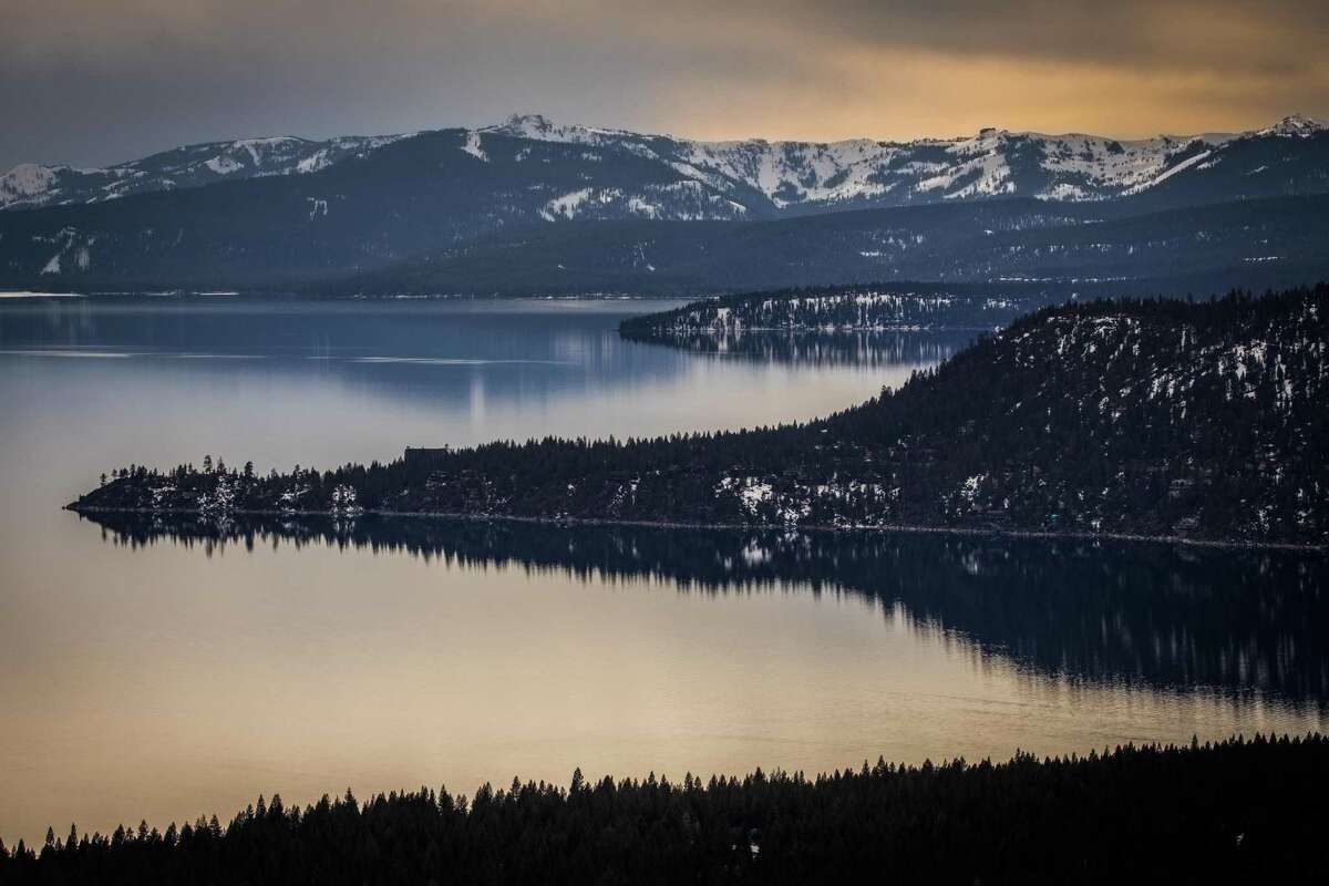Incline Village, Nevada, in the foreground, on the shores of Lake Tahoe on March 17, 2021.