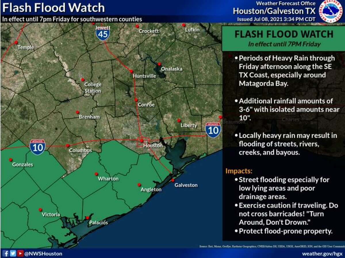 A flash flood watch went into effect through 7 p.m. Friday for areas southwest of Houston.