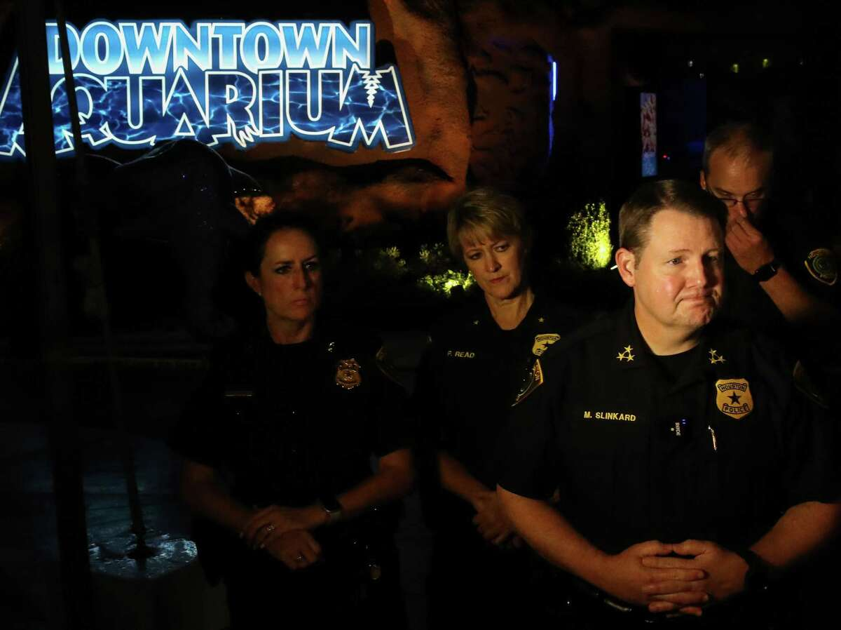 Houston Police Executive Chief Matt Slinkard briefs reporters at the scene of a shooting Thursday, July 8, 2021, at the Downtown Aquarium restaurant, in the 400 block of Bagby in Houston.