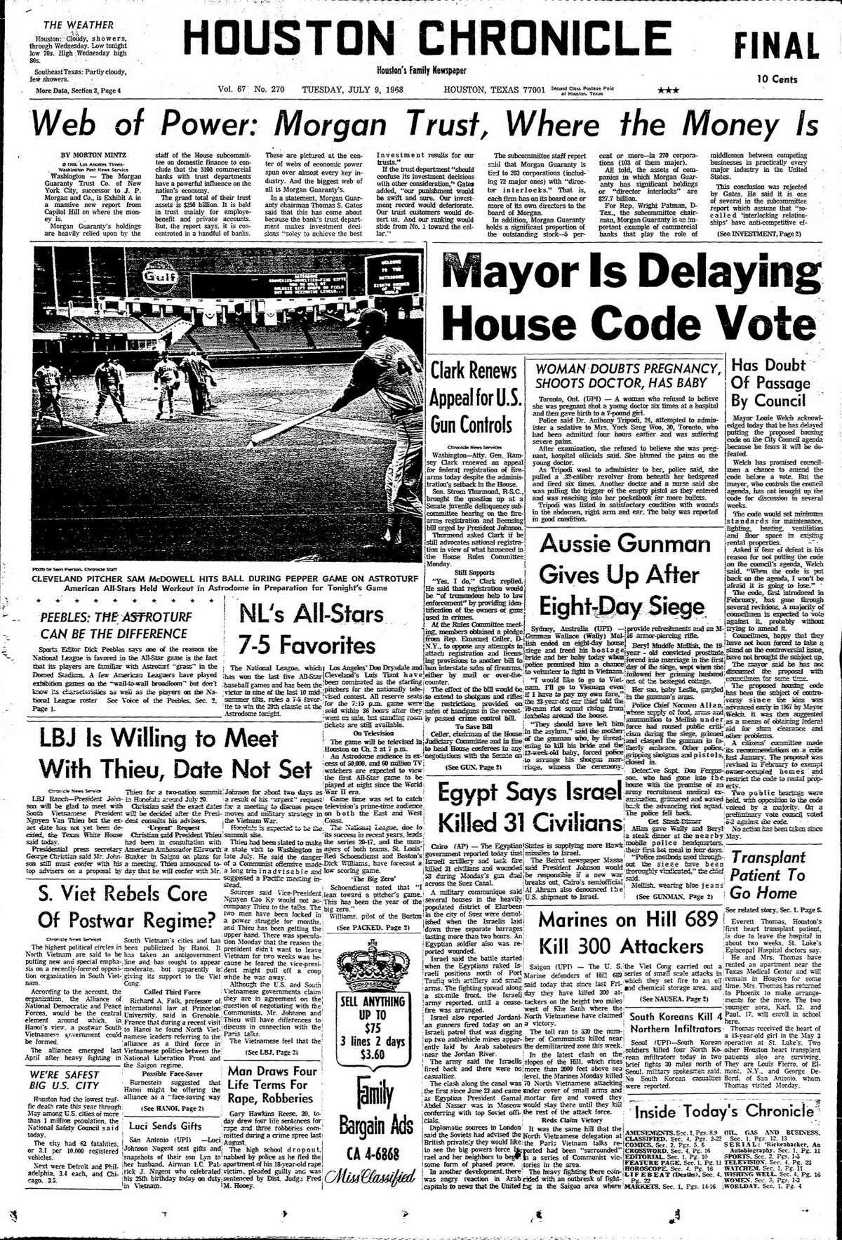 Houston Chronicle front page for July 9, 1968.