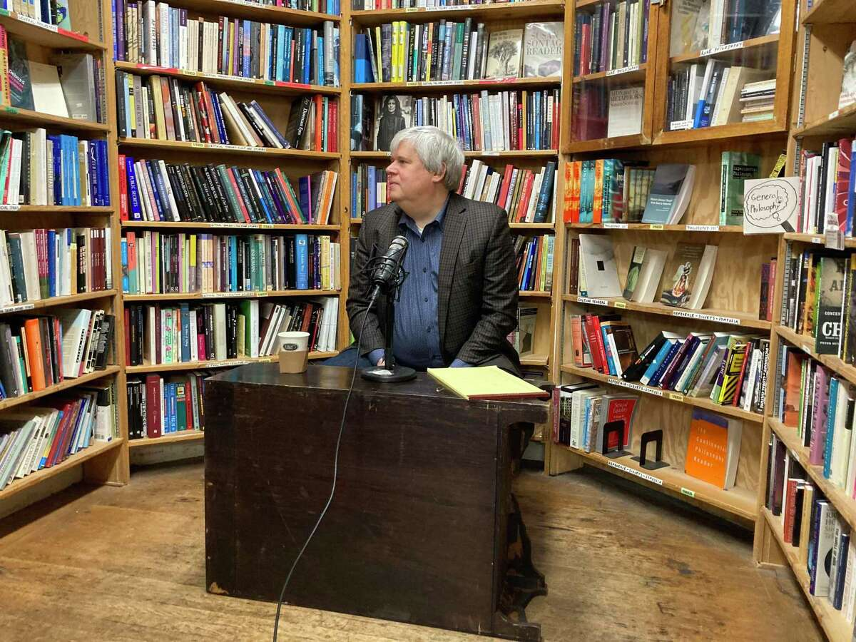 Daniel Handler records a Total SF podcast at Green Apple Books in San Francisco on July 6, 2021.