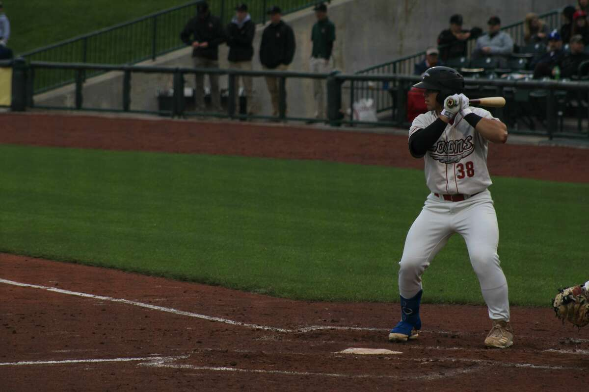 Loons designated hitter Carson Taylor bats against Lansing on July 8 at Dow Diamond
