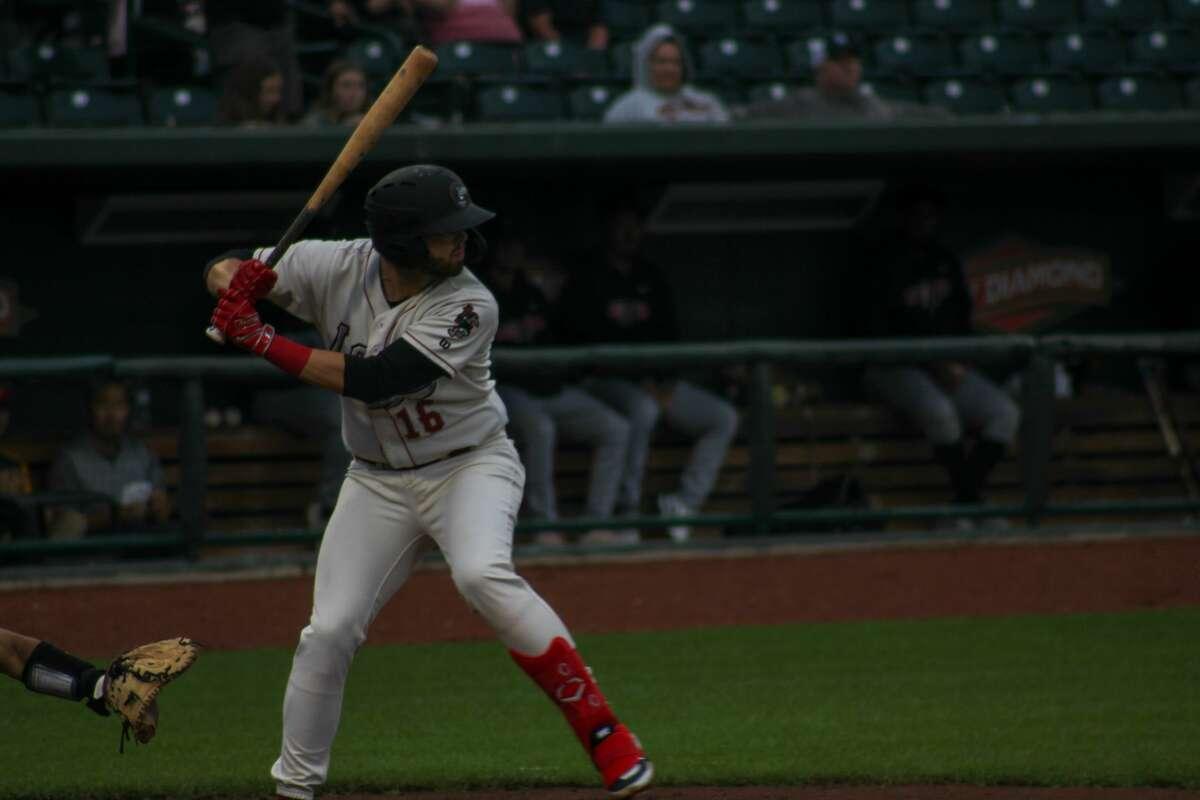 Loons third baseman Brandon Lewis bats against Lansing on July 8 at Dow Diamond