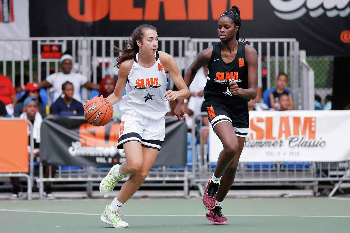Caroline Ducharme drives up the court during the SLAM Summer Classic 2019 girls game at Dyckman Park on August 18, 2019 in New York City.