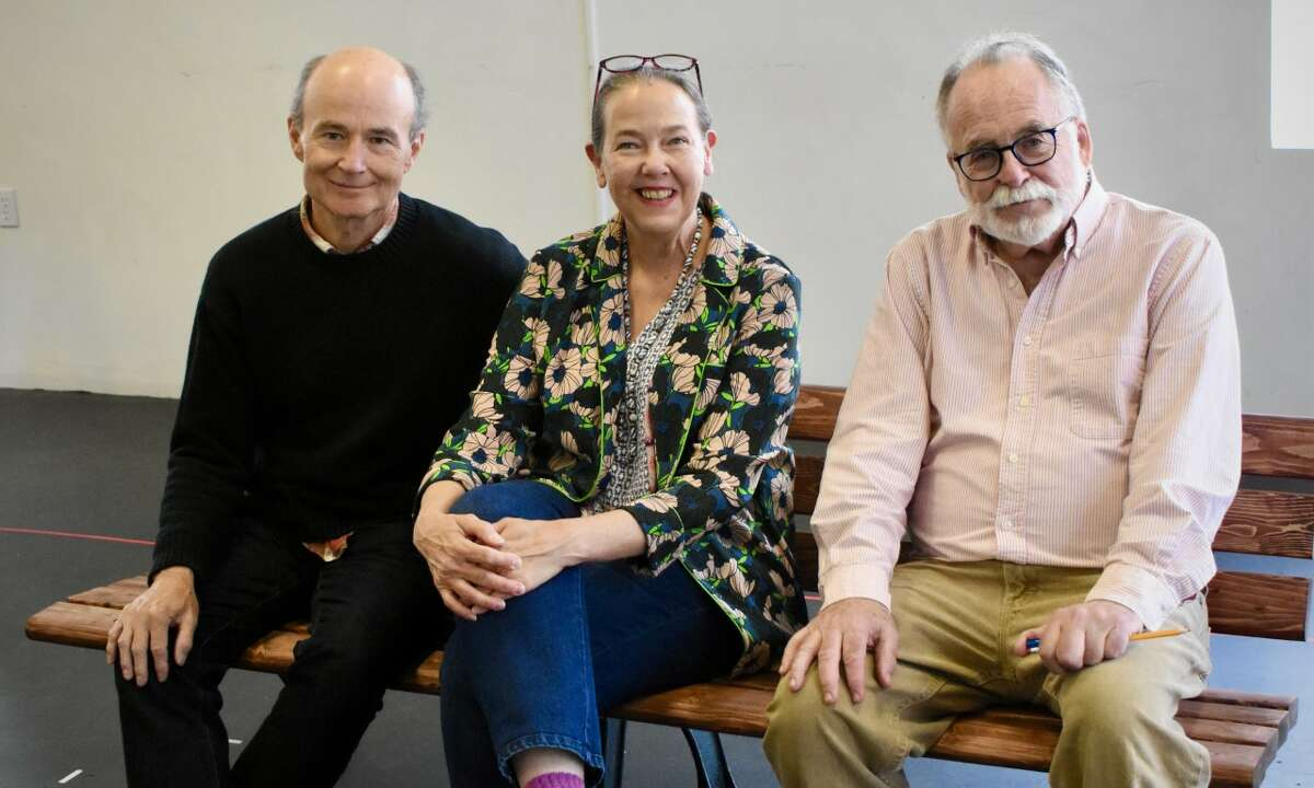 "Director Henry Stram, Tony Award winner Harriet Harris and playwright Mark St. Germain at ""Eleanor"" rehearsal. (photos courtesy of Barrington Stage Company)"