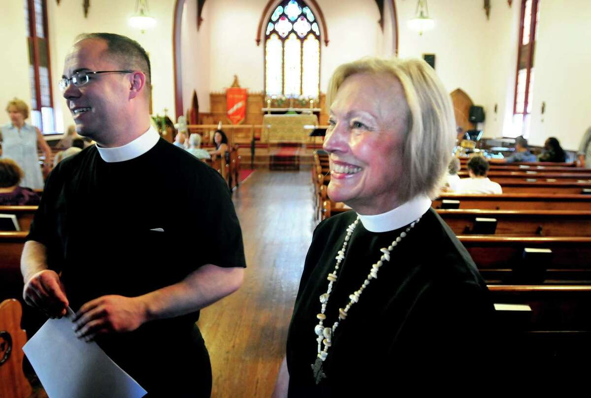 The Rev. Barbara Cheney, right, at St. James Episcopal Church in New Haven.