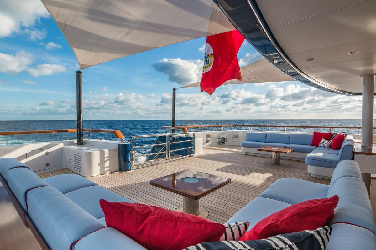 Outdoor living aboard the $83 million Huntress yacht, formerly known as Bella Vita.