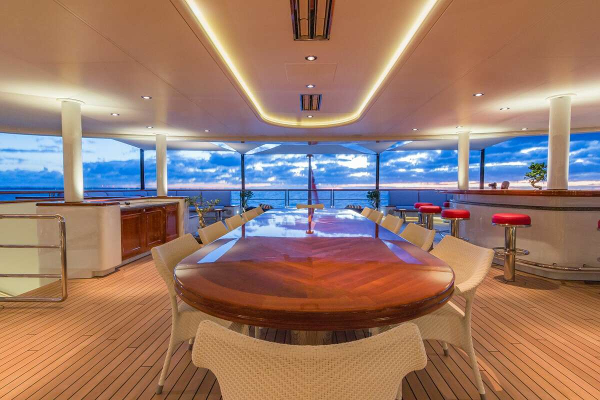 Dining on the high seas aboard the Huntress, which is supported by a crew of 22 when chartered.