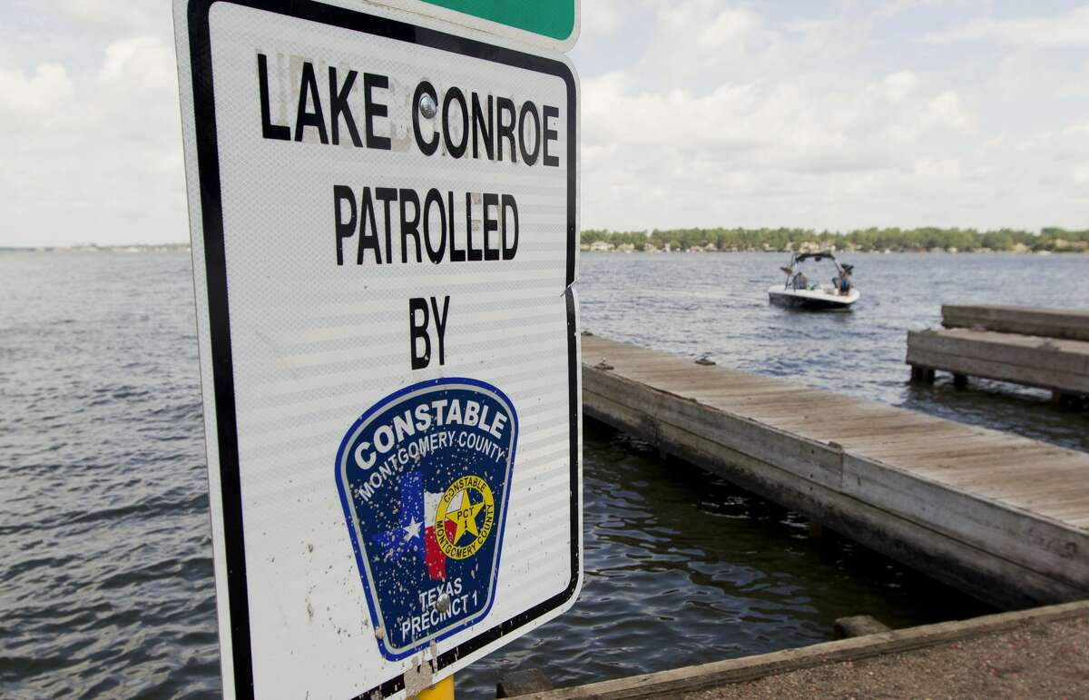 A sign notified boaters Lake Conroe is patrolled by the Montgomery County Precinct 1 Constable?•s Office, Friday, July 5, 2019, in Conroe.