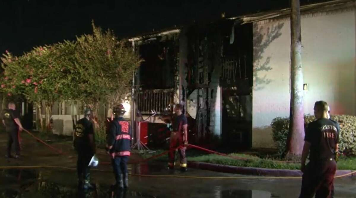 Houston firefighters on the scene of a deadly fire on July 1, 2021, on Fairdale Lane in the Mid-West neighborhood. A 52-year-old resident died on July 4 from injuries sustained in the fire.