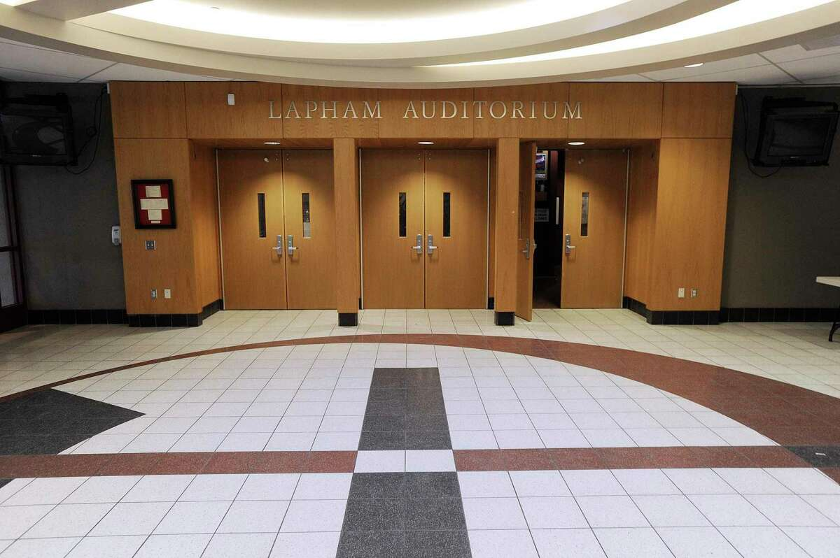 The lobby of Lapham Auditorium, at New Canaan High School in New Canaan, is pictured in a previous year. Pursuant to the caucus announcements that were published on June 15, and updated June 22, the New Canaan Republicans, (New Canaan Republican Town Committee, RTC,) is holding a caucus, July 20, beginning at 6 p.m. in the auditorium of the high school, which is located at 11 Farm Road in the town.