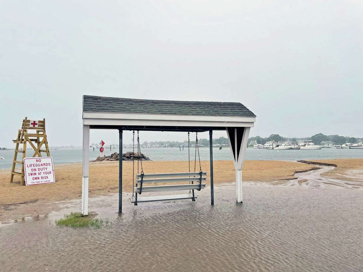 Clinton Town Beach was affected by Tropical Storm Elsa Friday.