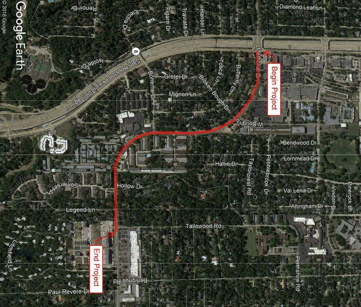TIRZ 17's Memorial Drive Drainage and Mobility Improvements projects is fixing a the portion of Memorial Drive between Tallowood Road and W. Sam Houston Parkway in Memorial City