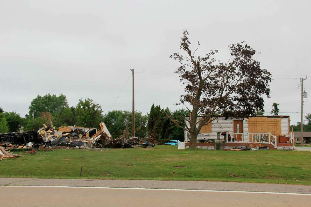 Gov. Gretchen Whitmer has expanded a state of emergency to include Huron County due to the tornado from two weeks ago. Cleanup for tornado-affected properties along Grindstone Road like this one have paused due to insurance companies assessing the damage. (Robert Creenan/Huron Daily Tribune)